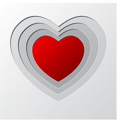 Deep layer red heart hole paper cutting art vector