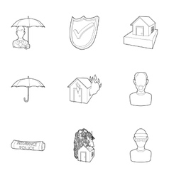 Disaster icons set outline style vector