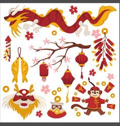 dragon and sakura chinese new year symbols vector image