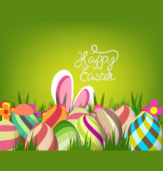 easter greeting card with colorful eggs on green vector image