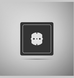 electrical outlet on grey background power socket vector image