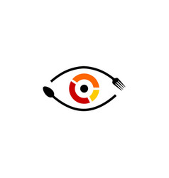 eye see food spoon fork logo icon vector image