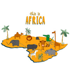 Figure african continent with cute animals vector