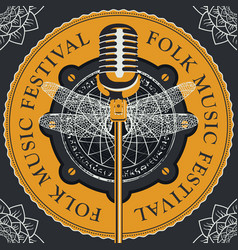 Folk music festival banner with microphone vector