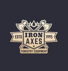 Forestry equipment vintage logo emblem with axes vector