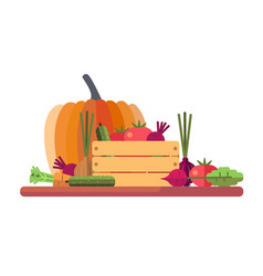fresh seasonal vegetables vector image