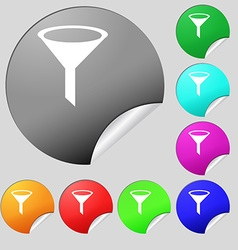 Funnel icon sign Set of eight multi colored round vector