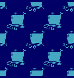 funny whale seamless pattern vector image