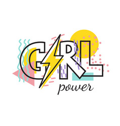 geometric modern lettring girl power vector image