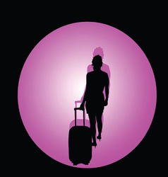 Girl with travel bag color vector