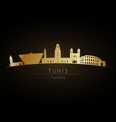 golden logo tunis city skyline silhouette vector image
