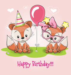 greeting card two cute cartoon foxes vector image