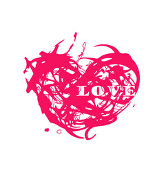 grunge splash heart vector image