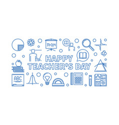 happy teachers day outline blue banner vector image