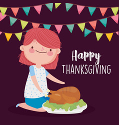 Happy thanksgiving day cute girl with roasted vector