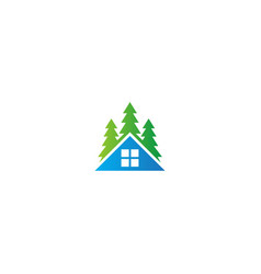 house resident pine tree nature logo vector image
