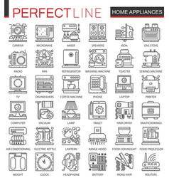 household appliances outline mini concept symbols vector image
