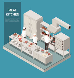 industrial kitchen isometric composition vector image
