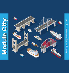 isometric models of ships vector image