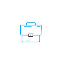Leather briefcase thin line stroke icon vector