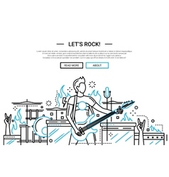 Lets rock - line design website banner vector