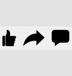 Like comment share icon set vector