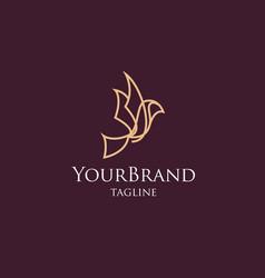 luxury bird mono line logo template vector image