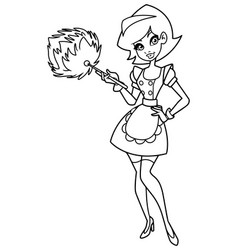 Maid line art vector