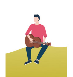 man playing guitar in park guitarist on lawn vector image