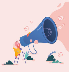 Man with megaphone people characters for refer a vector