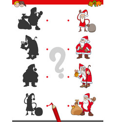 match shadows game with santa claus vector image