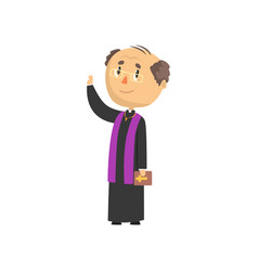 Mature priest character blessing people catholic vector