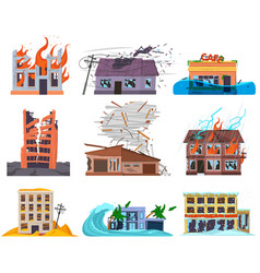 natural disasters cataclysms ruined destroyed vector image