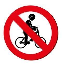 no bycicle prohibited sign vector image