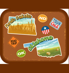 North dakota oklahoma travel stickers vector