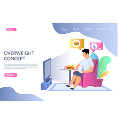 overweight concept website landing page vector image