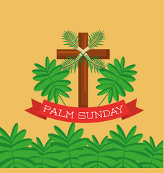 palm sunday greeting card cross branch christian vector image
