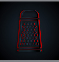 Paper cut grater icon isolated on black background vector