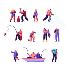 people outdoors activity set male and female vector image