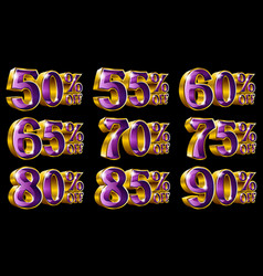percent off discount gold 3d vector image