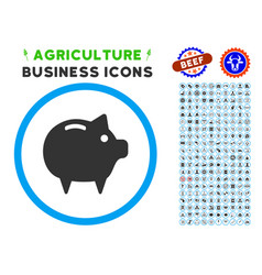 piggy bank rounded icon with set vector image