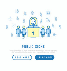 Public signs concept with thin line icons vector