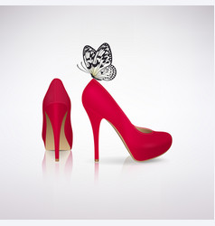 Red high-heeled shoes with butterfly vector