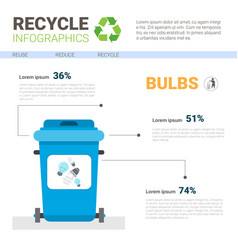 Rubbish container for bulbs waste infographic vector
