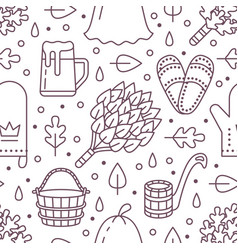 Sauna steam bath room seamless pattern with line vector