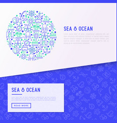 sea and ocean journey concept in circle vector image