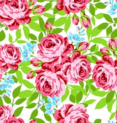 Seamless floral pattern with garden pink roses vector image
