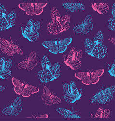 seamless pattern of butterflies silhouettes vector image