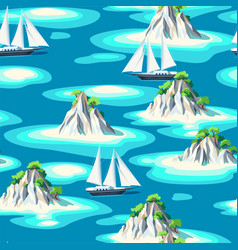 Seamless pattern with islands and sea vector