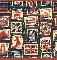 seamless pattern with stamps on theme uk vector image